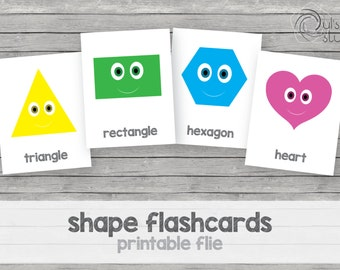 Printable kid's shape flashcards, english