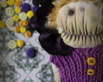 Little flower monster art doll stuffed creature purple lilac yellow
