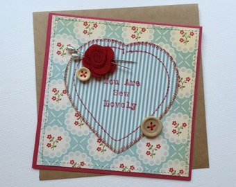 Friendship Card / Thank You Card / Sewing Theme Card /