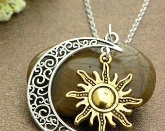 Antique silver hollow out moon with gold sun charm necklace moon necklace wedding jewelry