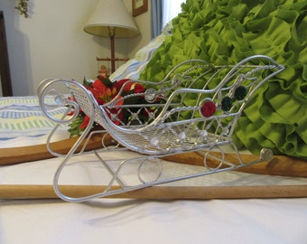 Sleigh Santa Unique Holiday Cottage Chic Silver Wire  With Bling Use as Gift or Storage Holiday Decor Christmas Decor