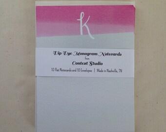 Monogram Notecard Set of 10 with Envelopes, K, Dip Dye