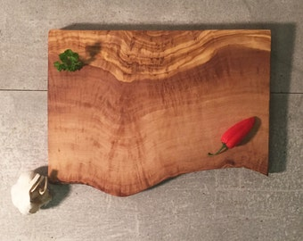 Cutting Board Olive Wood Raw Edge, Rustic Chopping Board, Natural Cheese Board, handcrafted