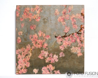 Asian Fusion Wall Art: Floating Blossoms Floral - Photo Transfer Art on Wood, Zen flower photography