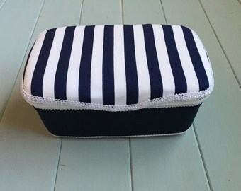 Navy Blue White Stripes, Nursery Wipe Case, Baby Wipe Case, Wipe Case, Wipes Case, Baby Wipes Case, Baby Gift, Nursery Decor
