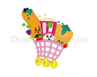 "Shopkins Embroidery Design, Shopkins applique machine embroidery design Shopping Cart applique machine embroidery design- 3 sizes 4x4"","
