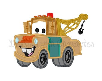 "Mate tow truck applique machine embroidery design- 3 sizes 4x4"", 5x7"", 6x10"""