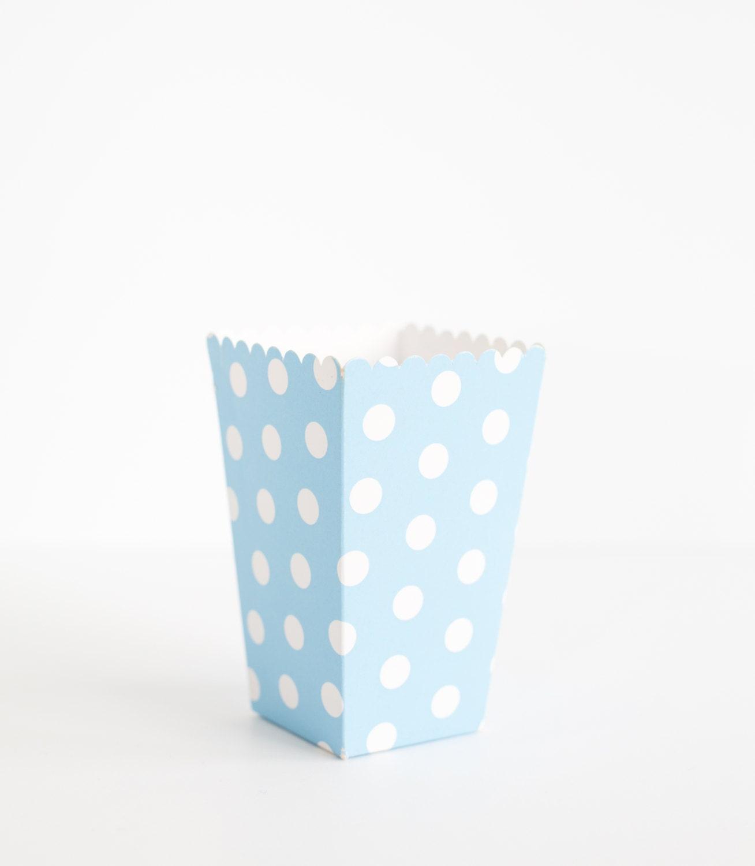 5 Blue Polka Dots Popcorn Boxes Blue Polka Dot Popcorn Box