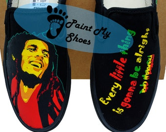 Bob Marley, Vans, Slip ons, hand painted shoes, Hand made, free shipping in the US