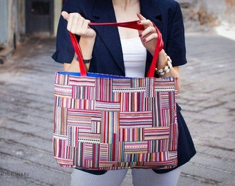 Red leather upholstery fabric bag with handles ethnic gift for her handmade original colored mother's day