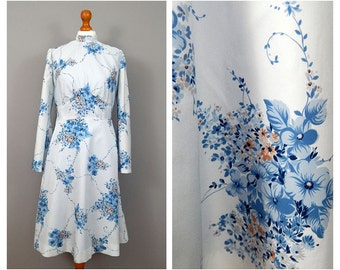 1970's Blue Floral Vintage Kimono Sleeve Dress