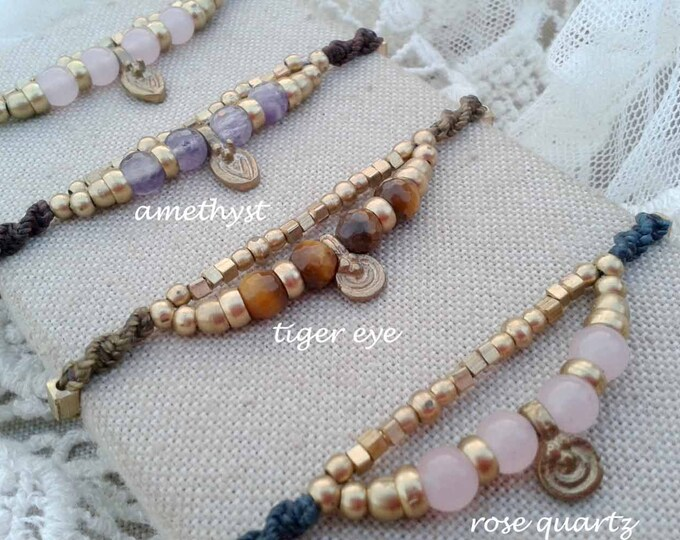 macramé & brass bracelet  Mod. Silbi, amethyst, tiger eye or  rose quartz, Bohemian bracelet, talisman yoga, goddess bracelet, free shipping