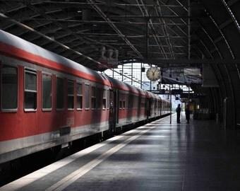Train Photograph - Train Photography - Red Train Print - Red Train Photo - City Photography - Berlin Germany - Transportation Photography