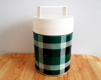 Soviet Vintage Thermos, Plaid Thermos from 1980's, Soviet Stainless Steel Thermos in Working Condition, Green White Black Plaid Thermos