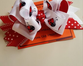 Ladybug Hairbow, Boutique Bows, Monogrammed Boutique Bows