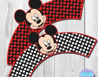 Mickey Mouse Cupcake Wrappers, Cupcake Liners DIGITAL FILE, You Print
