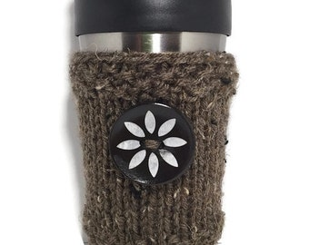 Coffee Cup Cozy - Tweed with Flower Button Travel Mug Sleeve - Coffee Cup Sleeve - Travel Mug Cozy - Coffee Mug Warmer - Tea Lovers Gift