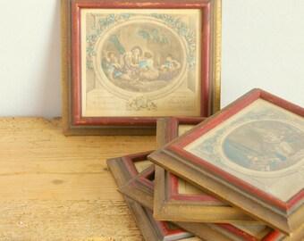 Vintage French prints in frames. French decor. Set of 5. Antique Fragonard prints. Color prints. Wall decor