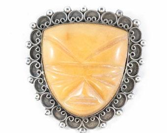 Vintage Sterling Silver Interesting Tribal Mask Brooch c. 1940