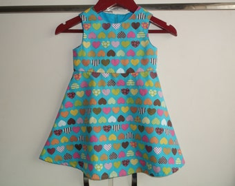 Hearts on turquoise dress
