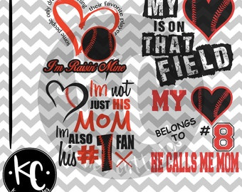 Baseball Mom, Raisin Mine, He Calls Me Mom, Number 1 Fan, .SVG/.PNG/.EPS Files for Every Vinyl Cutting Machine