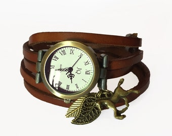 wrap Around Watch -watch on brown leather wrap-end leather-riding-western-horse