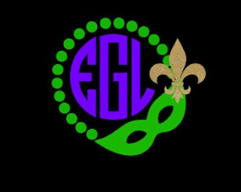 Mardi Gras Beads and Mask Vinyl Monogram Decal featuring a gold glitter fleur de lis!  Celebrate Mardi Gras with a new decal!
