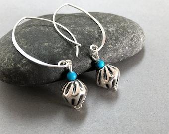 Sterling silver dangle earrings, Silver dangle hoop earrings, Long dangle hoop earrings, Turquoise and silver, Boho earrings