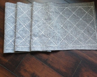 Ash Gray Rhinestone Table Runner - slightly imperfect, 80% off of retail price!