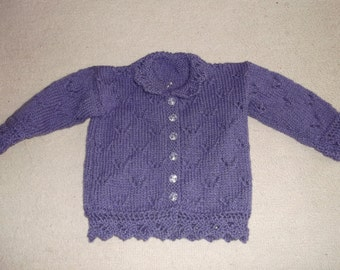 purple baby cardigan this item can be made in the colour and size of your choice
