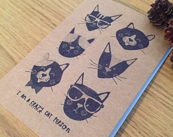 a5 Cat faces recycled brown notepad sketchbook