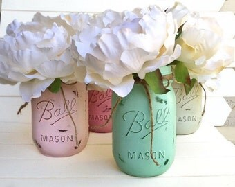 Four Painted Mason Jar - Shabby Chic Rustic Decor Centerpieces Baby Shower Pastel Flower Vases Distressed Light Pink Mint Green White