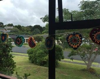Colourful crochet heart buntings