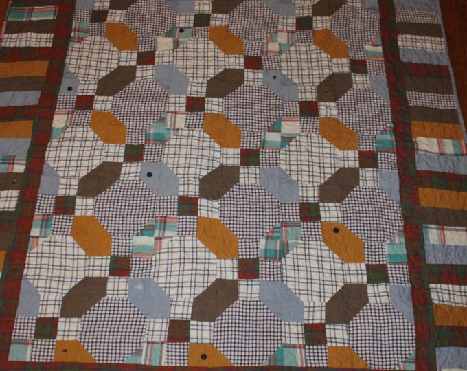 Recycled clothing quilt, Quilt made from Dad's shirts, Memory quilt made from man's cotton shirts, Men's dress shirt quilt, 7 shirt quilt