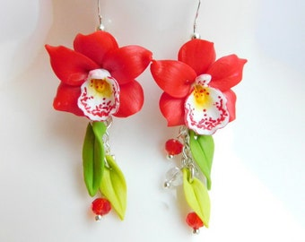 Red earrings Orchid jewelry Christmas gift Long flower earrings Red floral jewelry Gift for girlfriend Birthday gift Gift for wife