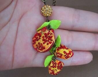 Pomegranate Jewelry Set Polymer pomegranate Polymer earrings and necklace Pomegranate earrings Pomegranate pendant Christmas gift
