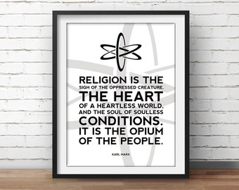 Atheism Quote Karl Marx Poster - Science Art, Geek Posters, Atheist Print, Wall Art, Scientist Poster, 18x24 Poster