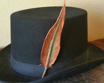 Leather Feather Hat Clip - Steampunk Corroded Copper