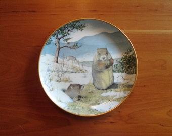 Peter Barret, The Woodland Year,Woodchucks in the February Thaw,  Calendar Plate  Franklin Porcelain