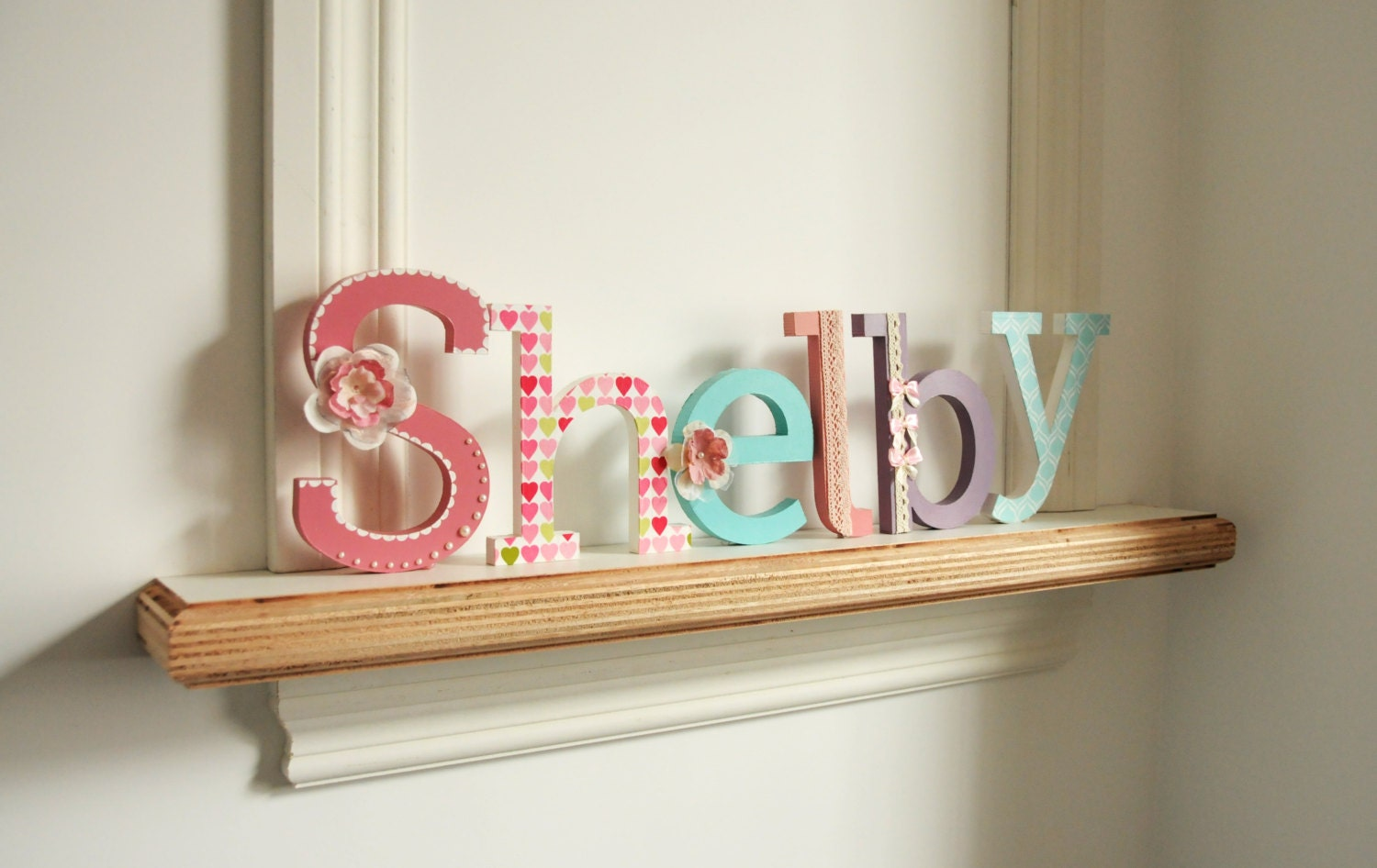 Free standing letter name hand painted and decorated wooden for Standing wood letters to paint