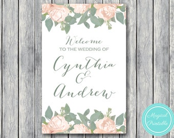 Personalized Welcome wedding sign, Personalized Wedding Sign, Wedding Decoration Sign, Printable sign DIY Print TG04 WD11