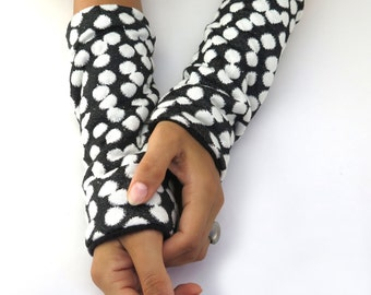 Arm Warmers Black And White, Wrist Warmers With Dots, Fleece Gloves