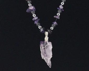 Amethyst & Rock Crystal beaded necklace