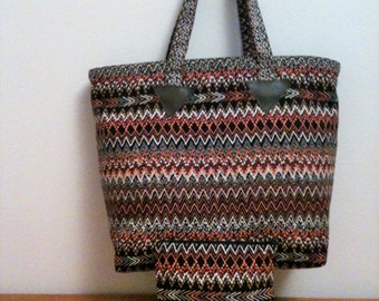 Brown Aztec Tote and Cosmetic Bag