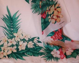"""Designer Scarf Olga Greco, Hibiscus, Tropical flowers, 30"""" x 31"""""""