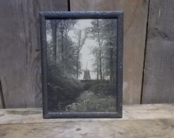 Black and white  Photographic Print in metal frame of dutch landscape / windmill.