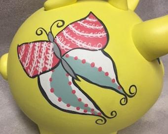 Piggy Bank: Bright Butterfly!