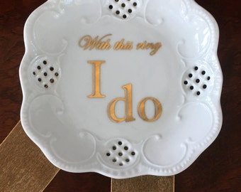 "Lacey Square Mini Tray - ""With this ring, I do"""