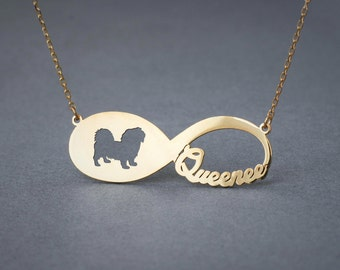 14k Solid Gold Personalised INFINITY SHORTHAIRED PEKINGESE Necklace - 14k Gold Pekingese Necklace - Name Necklace