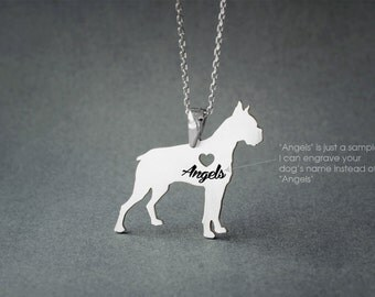 BOXER NAME Necklace - Boxer Name Jewelry - Personalised Necklace - Dog Jewelry - Dog breed Necklace - Dog Necklace